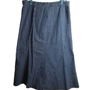 Faded Glory Denim Jean Skirt Maxi Size 16